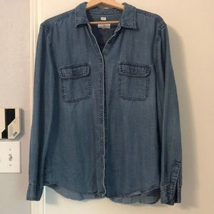 Softened chambray button down